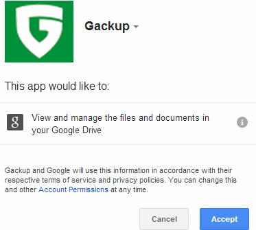 sign in and authorize Gackup to access your Google account