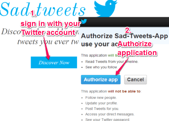 sign in and authorize Sad Tweets