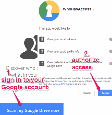 sign in to Google account and authorize access