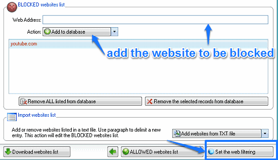 specify blocking websites