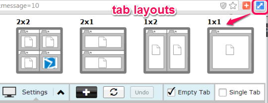 use extension icon to open tab layouts