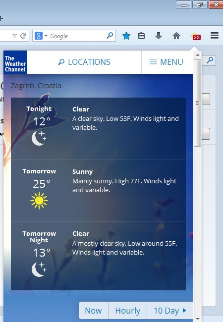 weather forecast addons for Firefox 1