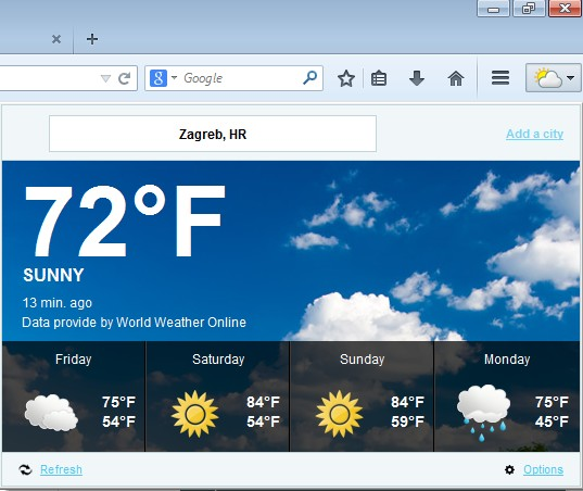 weather forecast addons for Firefox 2
