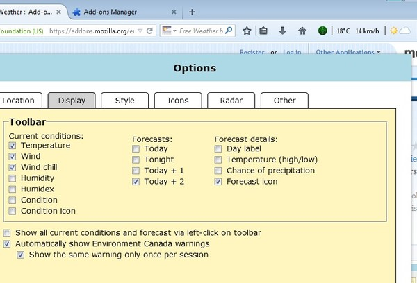 weather forecast addons for Firefox 4