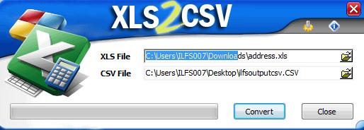 xls2csv- interface