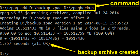 zpaq create backup