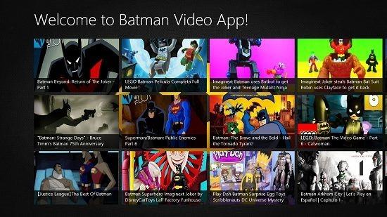 Batman Videos Main Screen