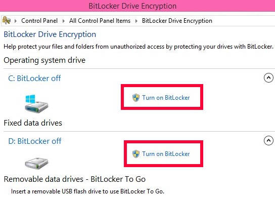 BitLocker Drive Encryption-Turn ON