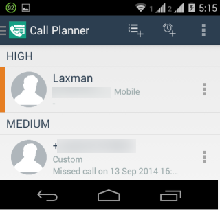 Call Planner Interface