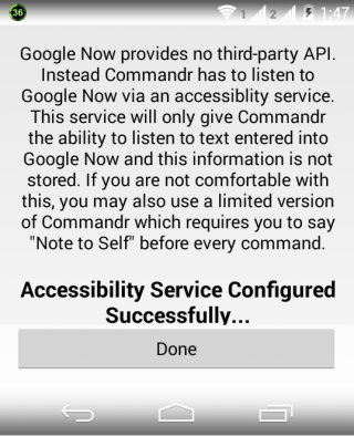 Confirmation for Activating Commandr for Google Now