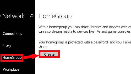 Create HomeGroup-Option