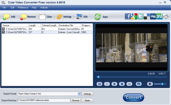 Cute Video Converter Free Version- interface