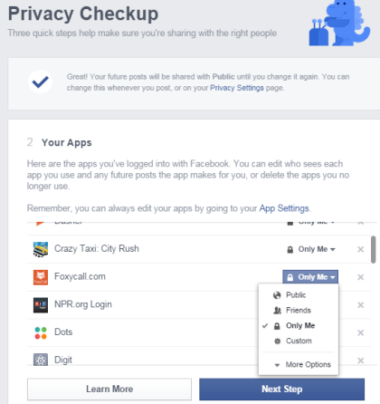 Facebook Apps Privacy Settings