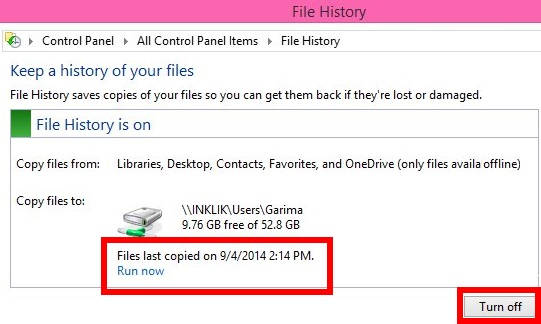 File History-Turn Off