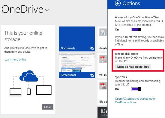 Free Up Drive Space-OneDrive