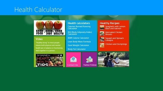 Health Calculator Main Screen