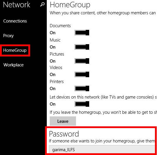 HomeGroup Password-PC Settings