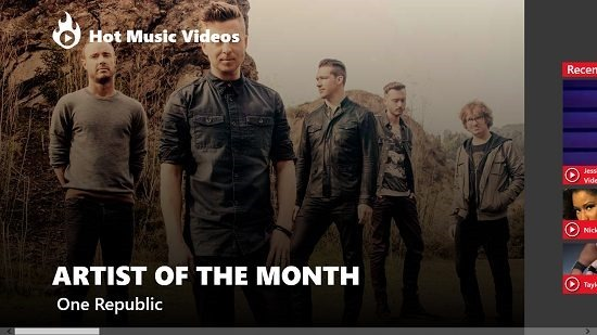 Hot Music Videos Main screen