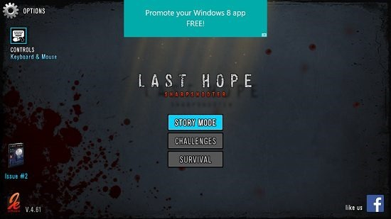 Last Hope - Zombie Sniper 3D Main Screen