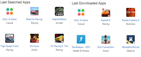 Last Searched and Downloaded Apps
