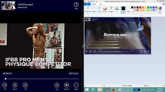 Metro Media Player Pro video player snapped