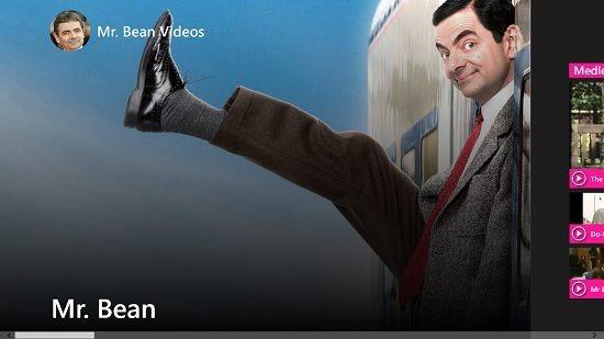 Mr. Bean videos main screen