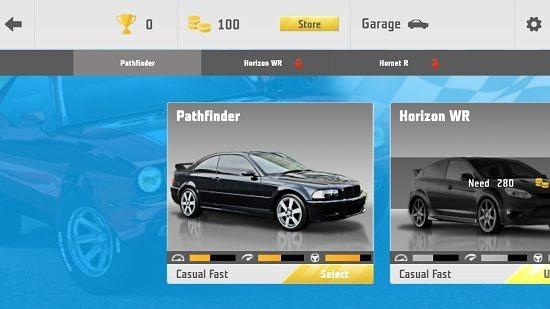 Need For Racing select car