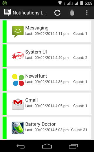 Notifications Logger Home Screen