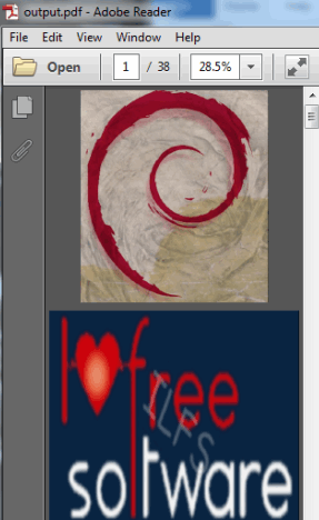 PDF file generated from input images