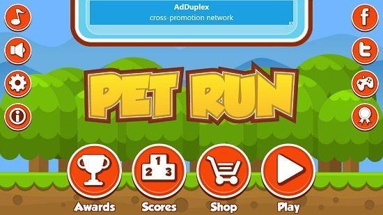 Pet Run Main Screen