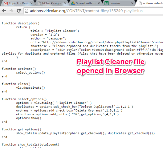 Playlist Cleaner plugin file opened in browser
