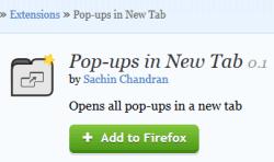 Pop-ups in New Tab- Firefox extension
