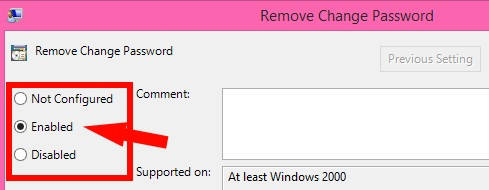 Prevent users from changing password-Enabled