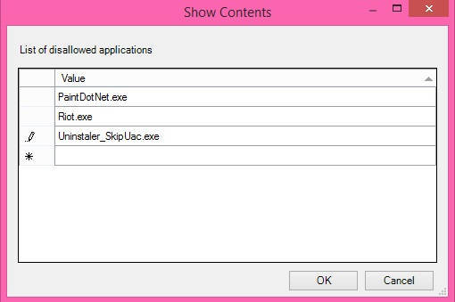 Restrict Users To Access Various Programs-Show cONTENTS