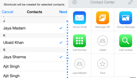 Selecting Contacts and Shortcuts
