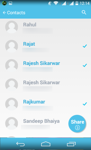 Selecting Contacts to Share Location