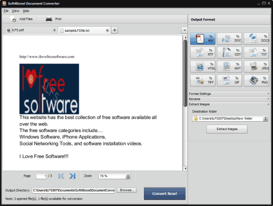 Soft4Boost Document Converter- interface