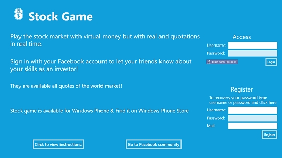 StockGame main screen