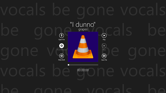 Vocals Be Gone vocal removal option selected