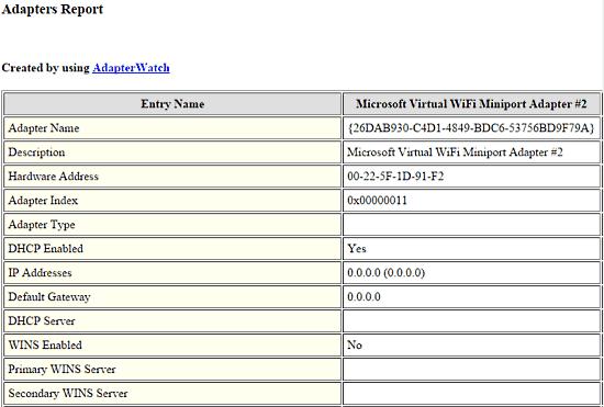 adapterwatch html report