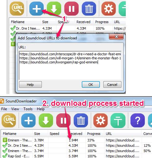 add SoundCloud URLs and start download process