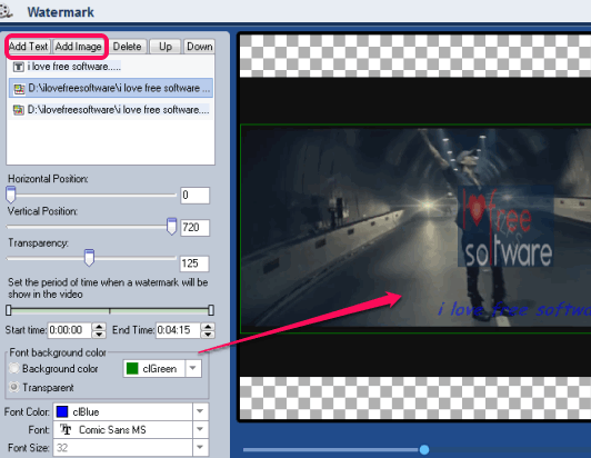 add text and watermark to video