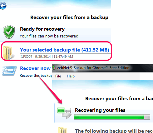 add the saved backup file and start recovery process