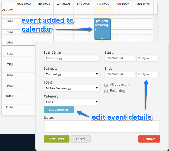 adding events to calendar