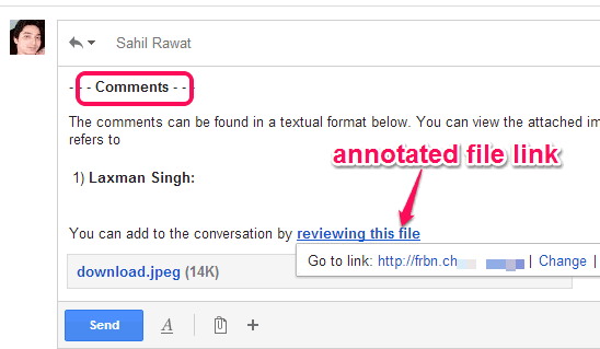 annotated file link and comments