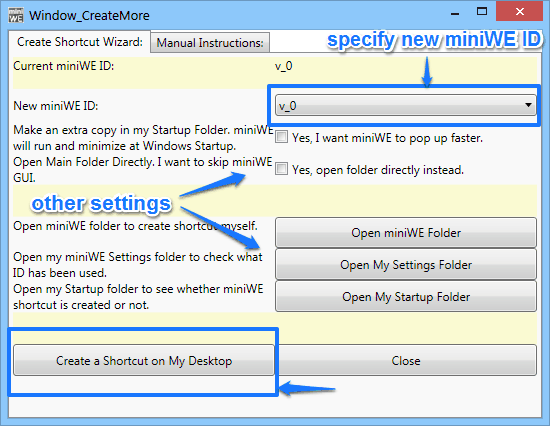 another instance miniwe settings