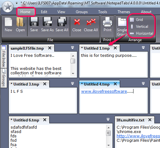 arrange tabs using a particular view mode