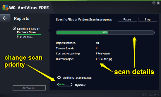 avg custom scan