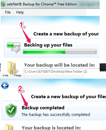 backup completed
