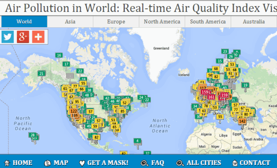 check real time air quality index and air pollution level in world